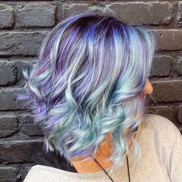 Short hair bride pastel blue