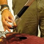 Extracting wine from the unopened 2015 barrel with a 'Wine Thief Tool' | wine tasting