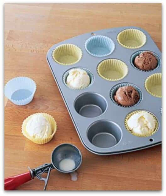 cupcake liner as ice cream bowl