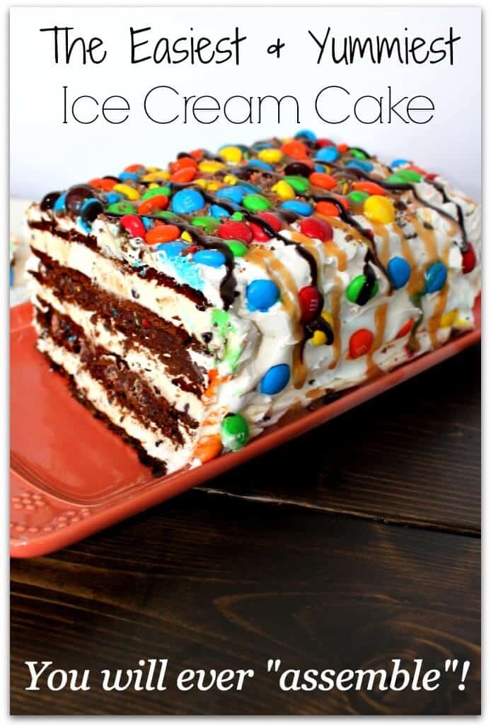 M&M Ice Cream Sandwhich Cake - Super Easy Ice Cream Sandwich Cake! This easy to assemble, no bake dessert will quickly become an all time family favorite!