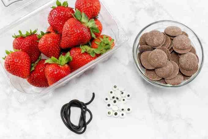 Chocolate Covered Strawberry Ladybugs Ingredients