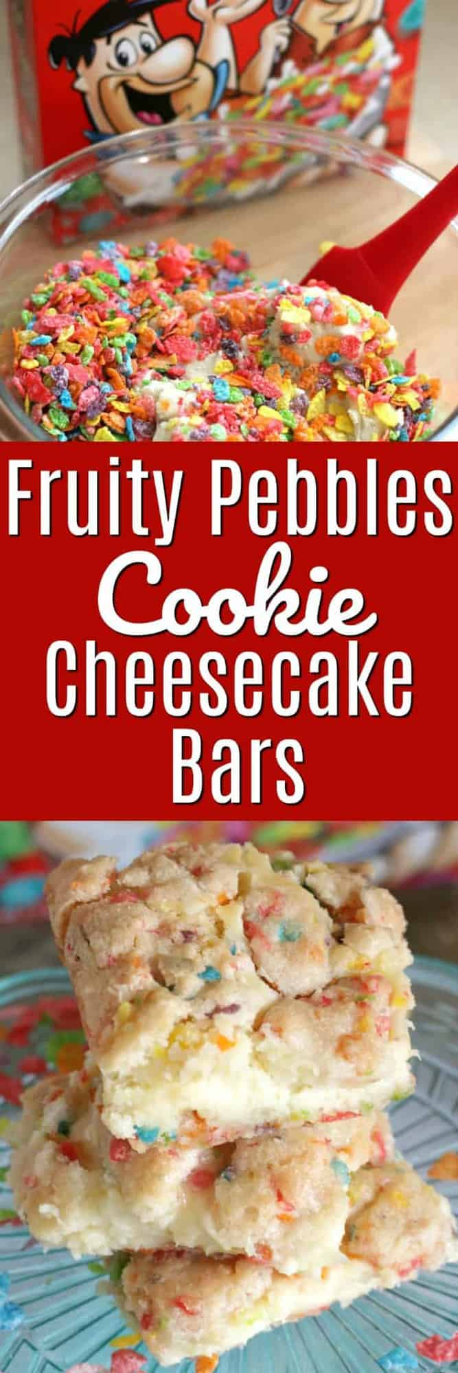 Fruity Pebbles Cookie Cheesecake Bars are not only fun to eat, they are easy to make with only 6 simple ingredients!  This ooey-gooey delight is made with a soft, chewy sugar cookie dough that's LOADED with Fruity Pebbles and has a creamy, delicious cream cheese center.