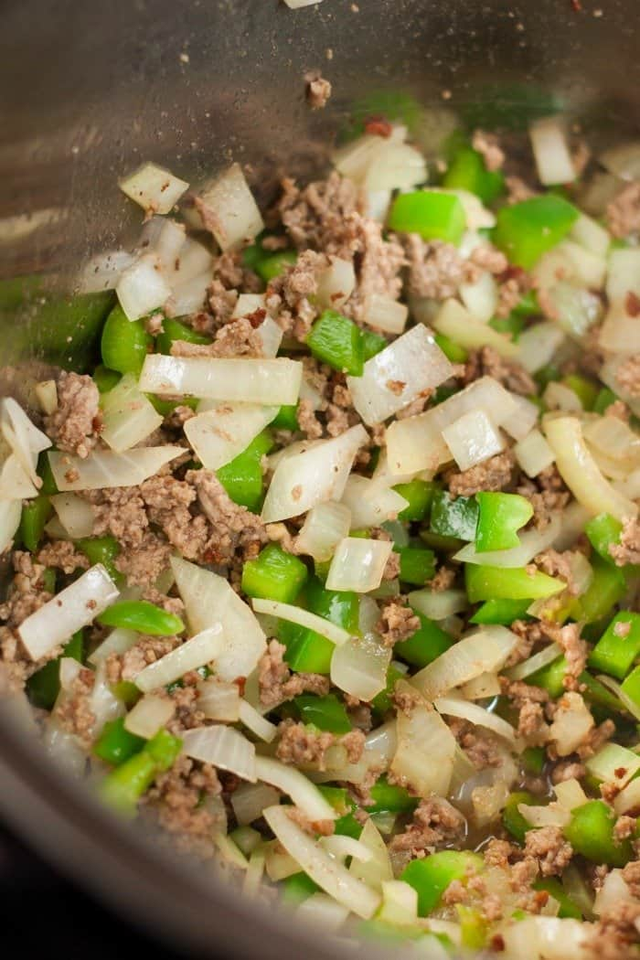 ground beef and soften onion and green peppers