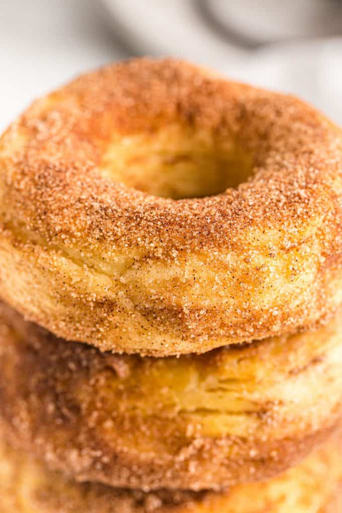 Close up of donuts with cinnamon sugar