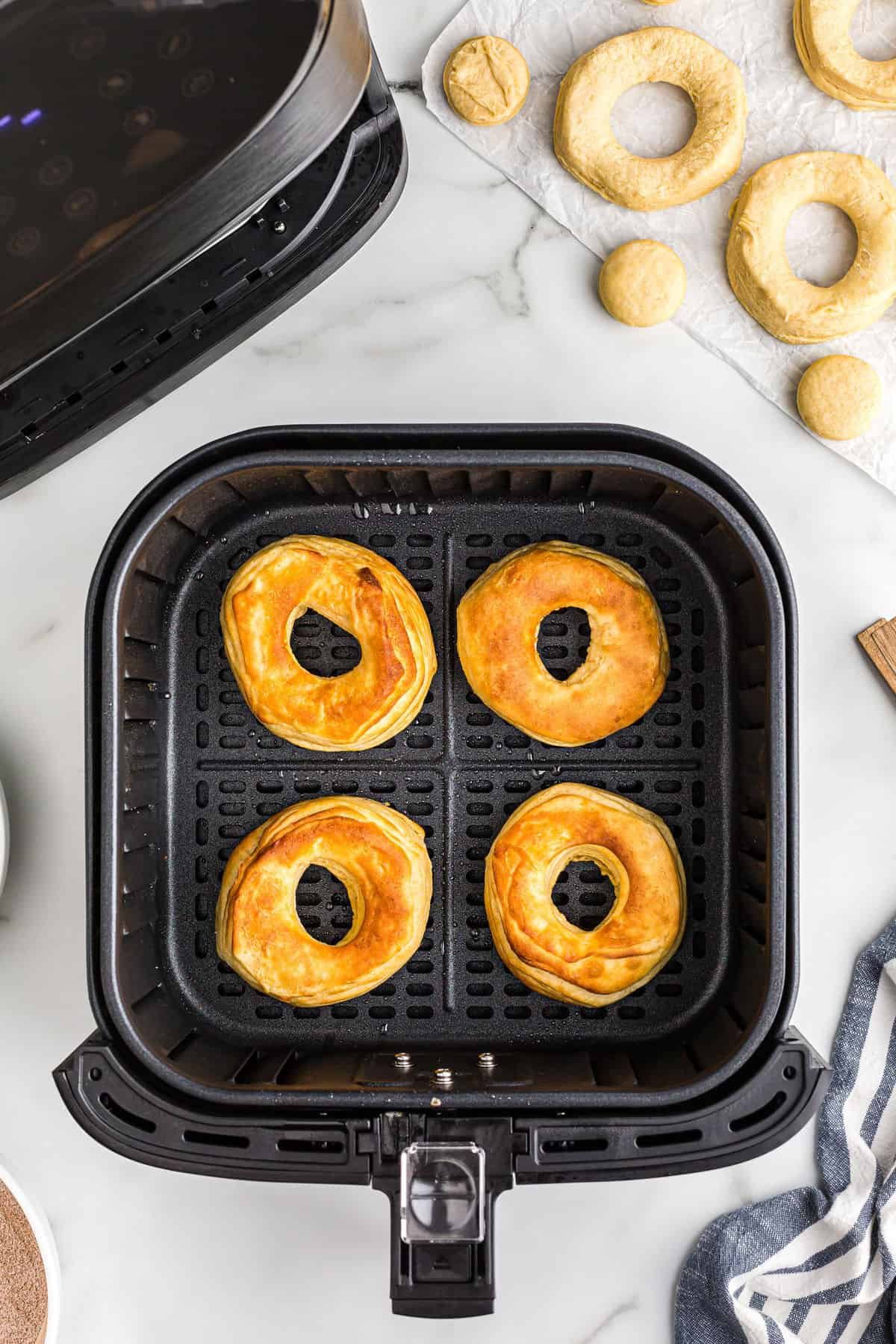 Fry donuts in the air for 3 minutes
