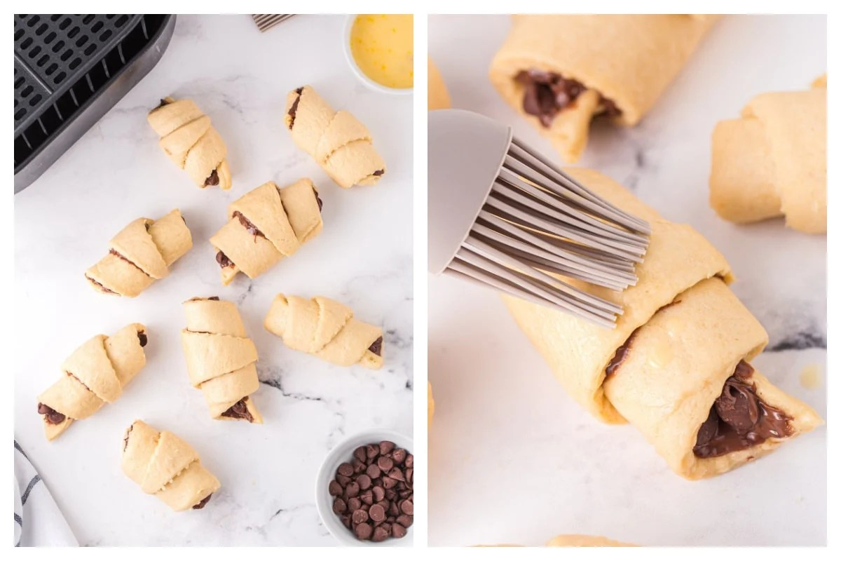 Roll up the croissants and brush with egg detergent