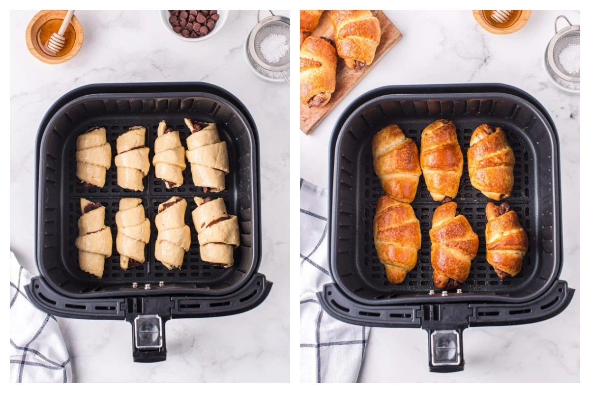 Put the croissant in the air fryer basket