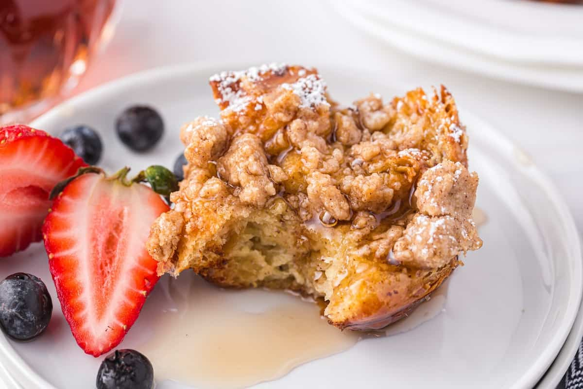 Muffin pan French toast on a plate
