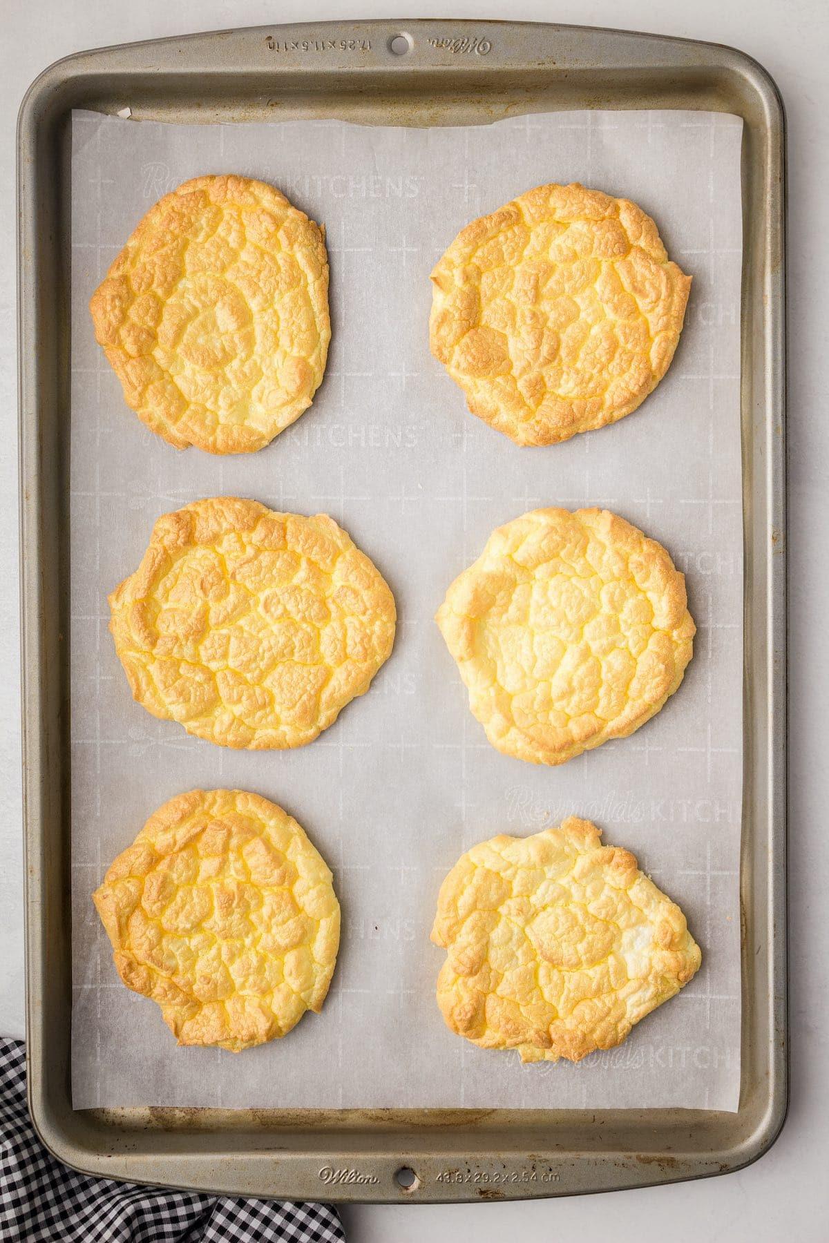6 cloud bread in a baking tray