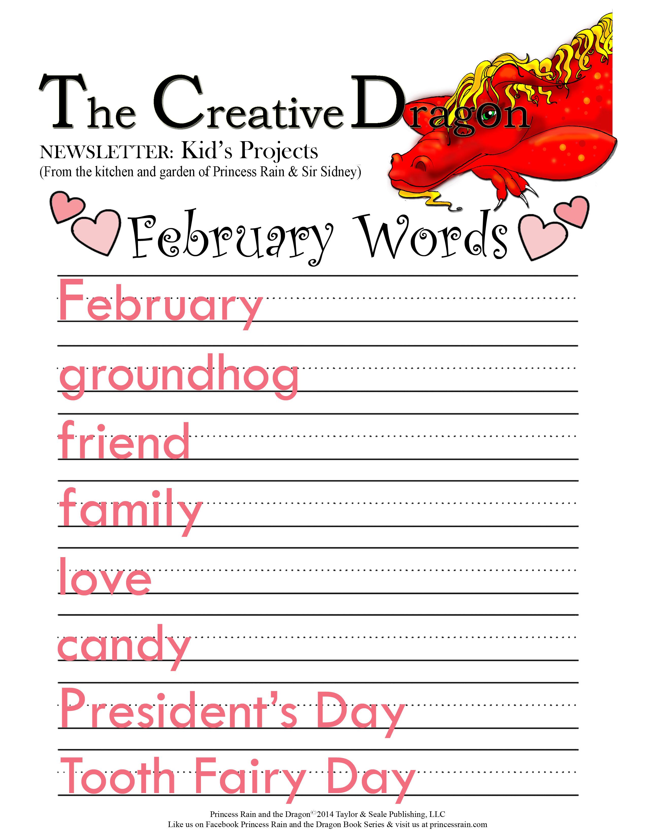 February Words Princess Rain And The Dragon
