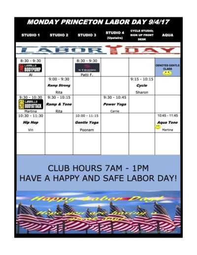 Princeton Labor Day Group Fitness Schedule - Princeton ...