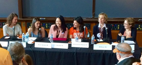 At PU reunions, a panel of alumni discussed whether we are obsessed with food. Panelists, from left, Katy Seaver '10 of Luscious + Intuitive Eating; Kerry Saretsky '05, Corporate Strategy Director-Global, HarperCollins Publishers and blogger at FrenchRevolutionFood.com; Lydia Itoi '90, Food and Travel Journalist; Beth Quatrano Diamond '85, Founder, Cooking for a Change; Jill Baron '80, Integrative and Functional Medicine Physician; Roberta Isleib '75, author, alias Lucy Burdette. Smitha Haneef, executive director of Campus Dining services, moderated.