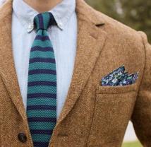Striped tie + floral pocket square