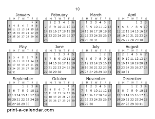Download 10 Printable Calendars