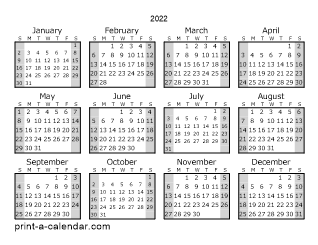 Download 2022 Printable Calendars