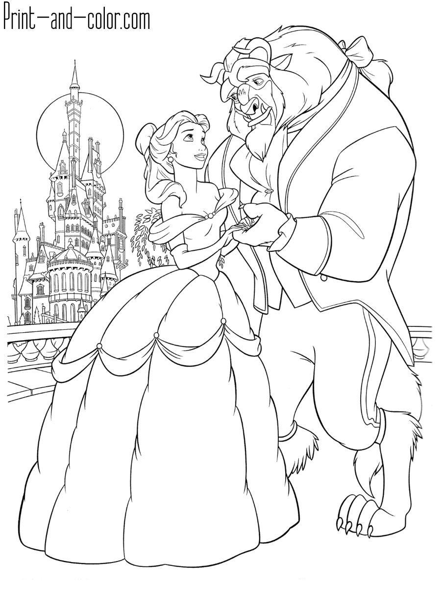 Beauty And The Beast Printable Coloring Pages : beauty, beast, printable, coloring, pages, Beauty, Beast, Coloring, Pages, Print, Color.com