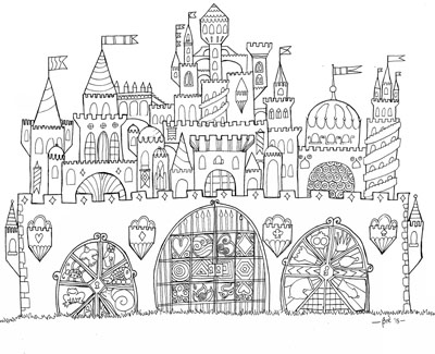 Free Printable Whimsical Castle Adult Coloring Page