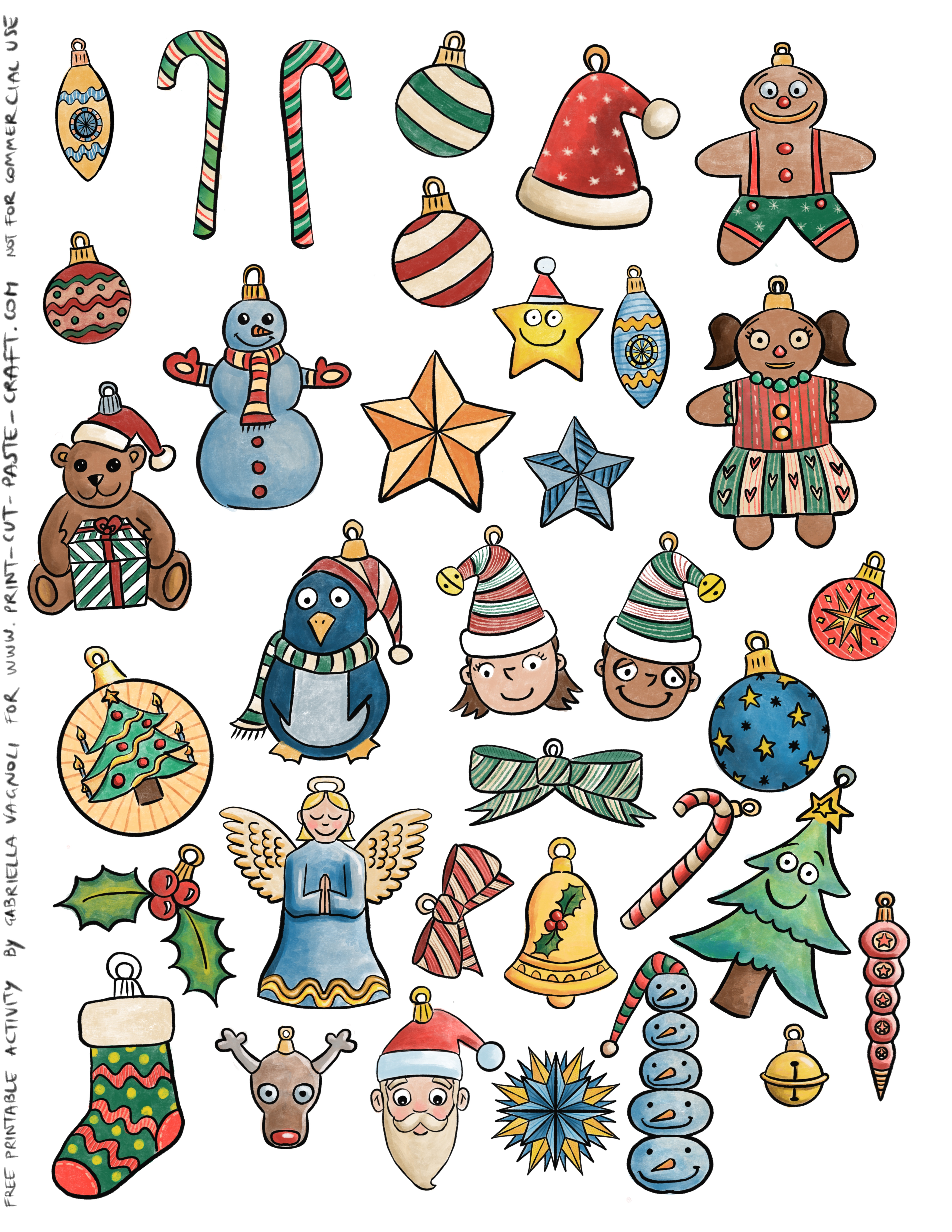 Free Printable Color Ornaments Cut And Paste Your