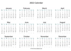 Print Free Calendar 2022