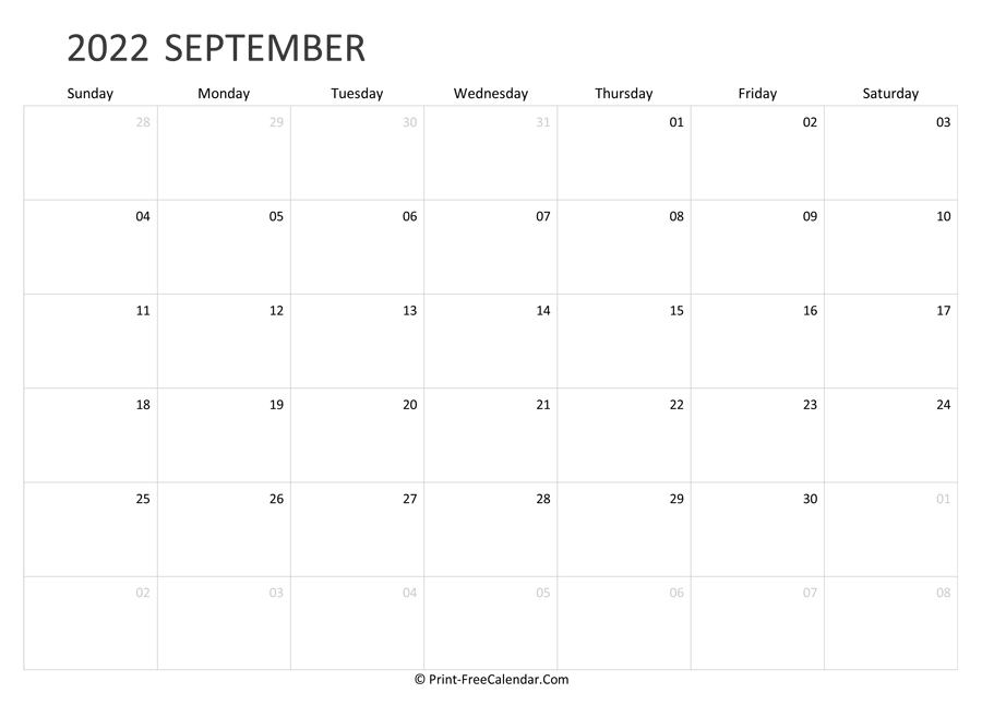 Editable September Calendar 2022 (landscape layout)