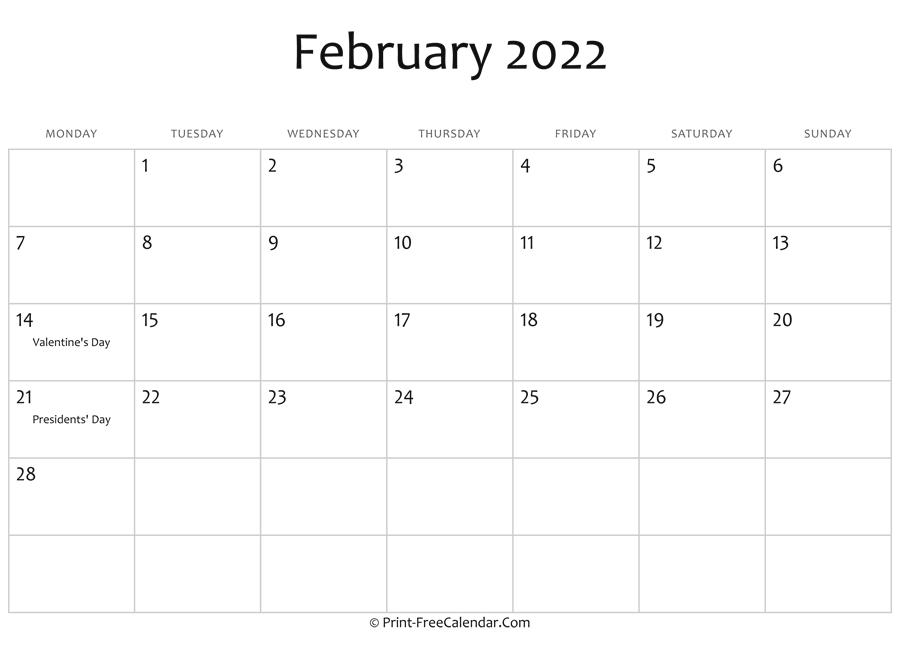 February 2022 Editable Calendar with Holidays