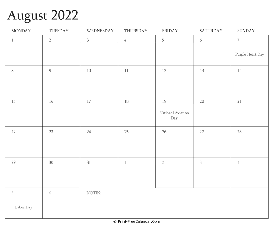 Printable August Calendar 2022 with Holidays