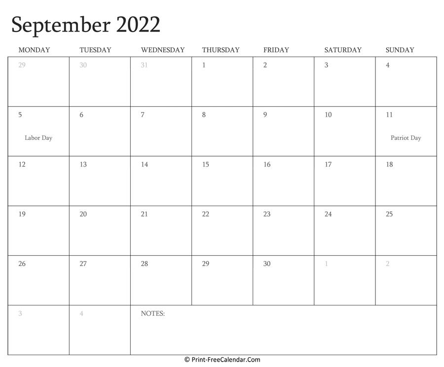 Printable September Calendar 2022 with Holidays