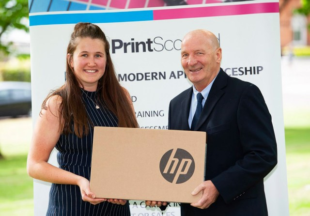 Print Scotland apprentice winner Louise Docherty with James Vallance
