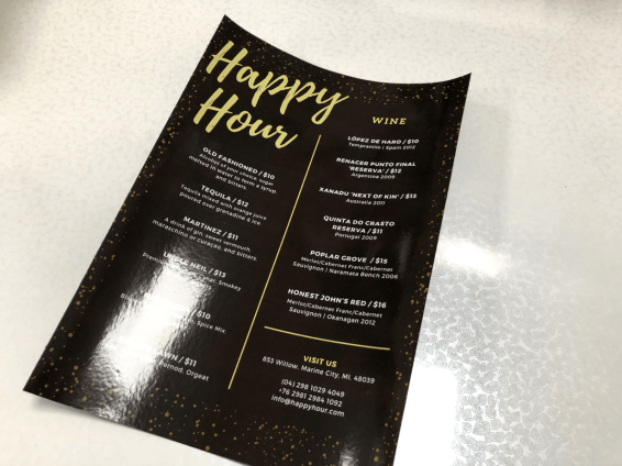 Printed wine menu