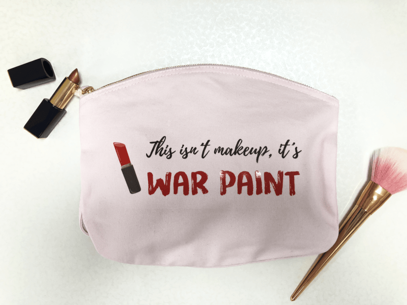 Printed make-up bag with lipstick