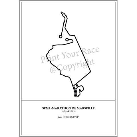Aperçu de l'affiche représentant le tracé du marathon de Marseille 2018