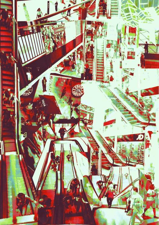 Grand Arcade, Cambridge, UK digital collage