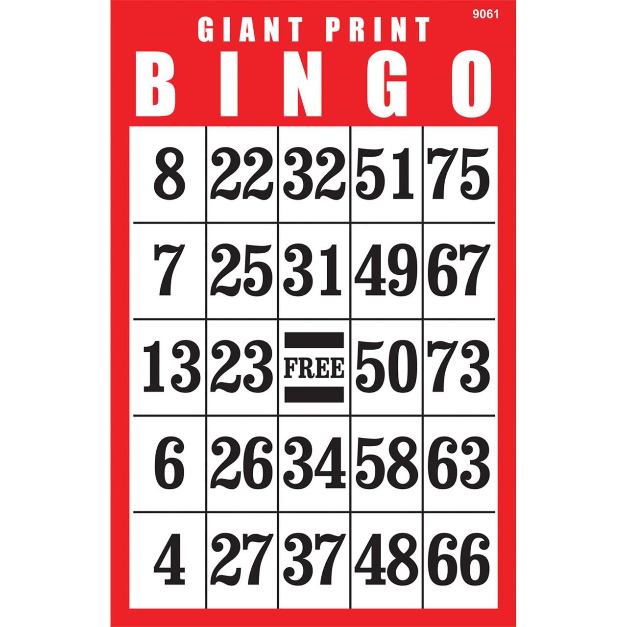 Large Print Bingo Cards For Seniors Printable