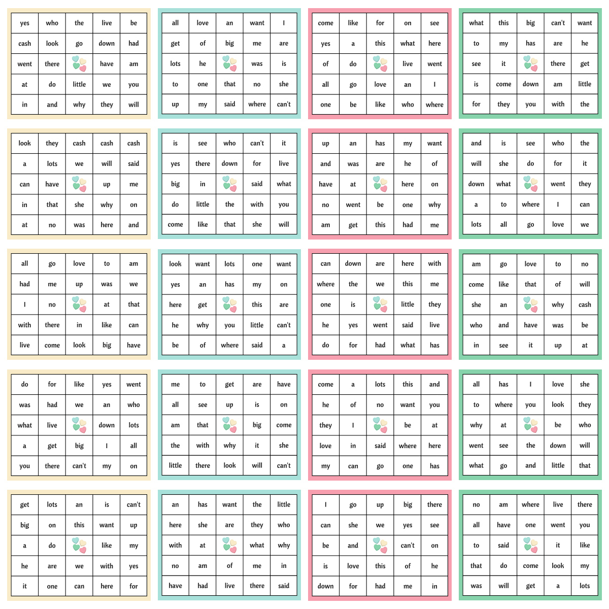 Sight Word Bingo Cards Printable