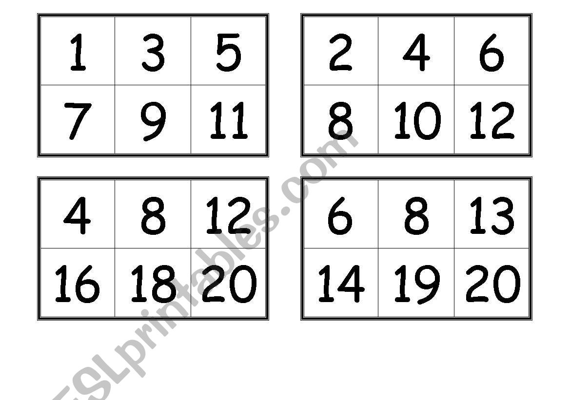 Numbers Bingo Cards From 1 To 20