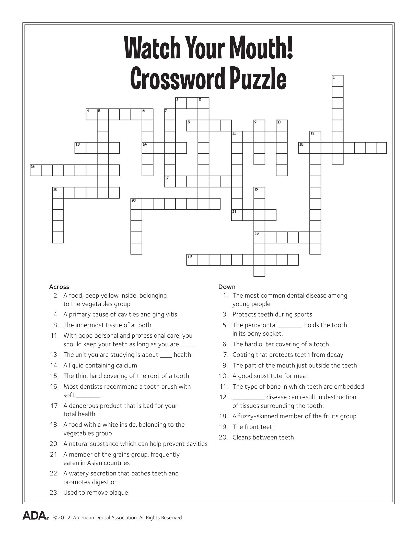 Mental Health Crossword