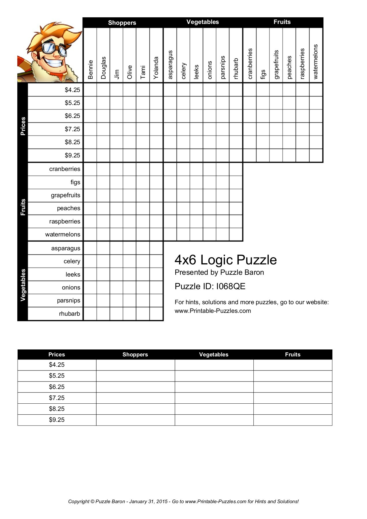 Gutsy Logic Puzzles Easy Printable