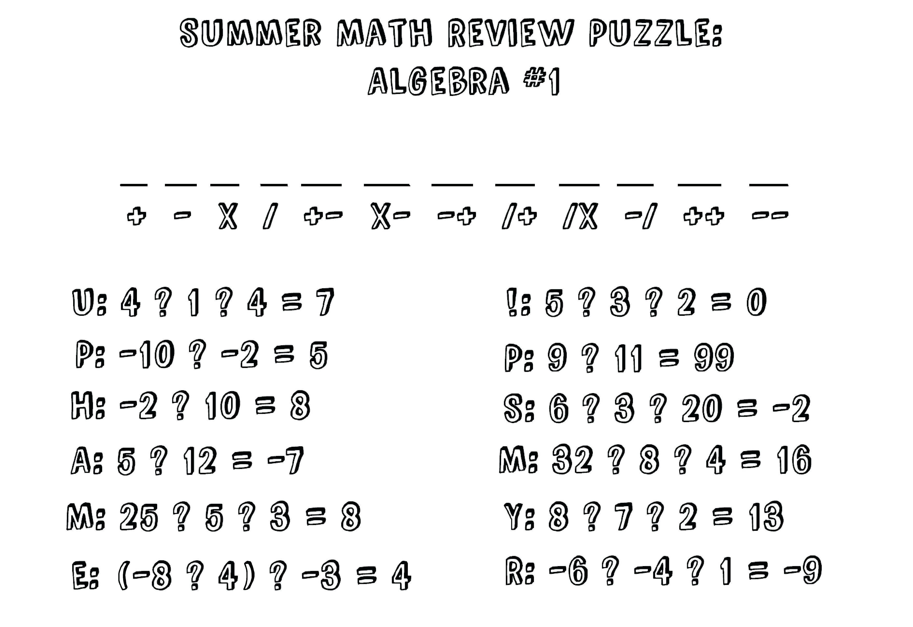 Printable Maths Puzzles Ks2