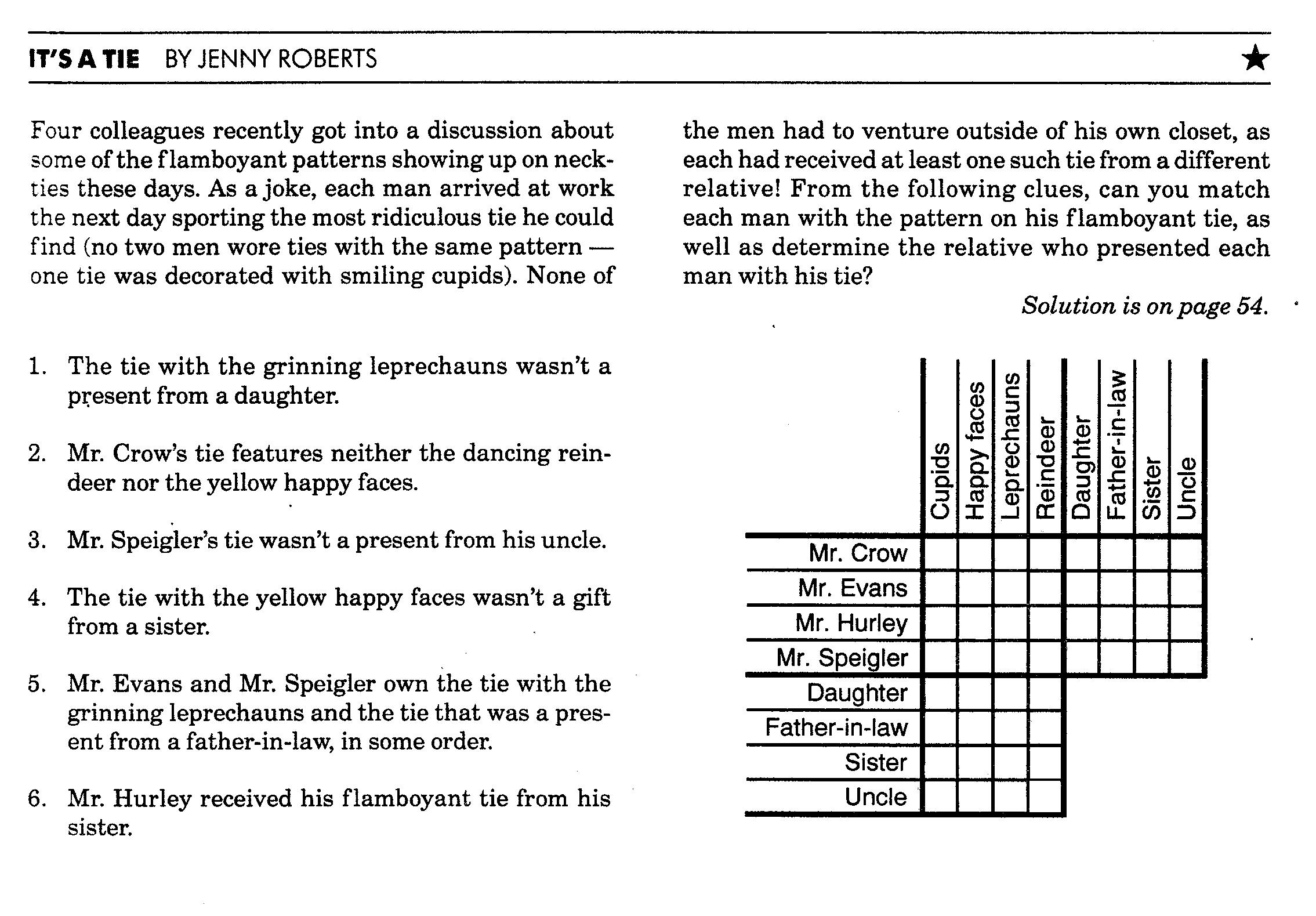Printable Deduction Puzzle