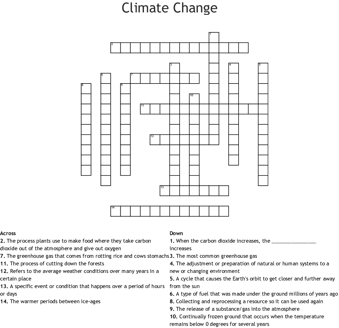 Global Warming Crossword Puzzle Printable