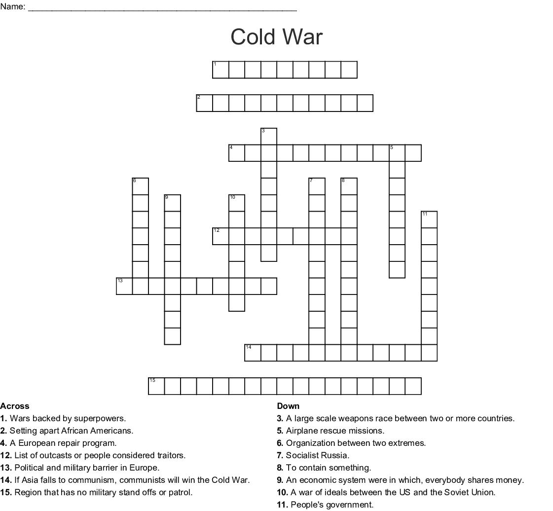 Cold War Crossword Puzzle Crossword
