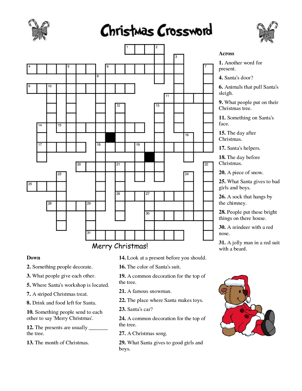 Printable Christmas Crossword Puzzle For Adults