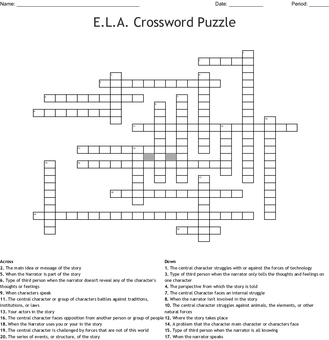 Crossword Printable 7th Grade
