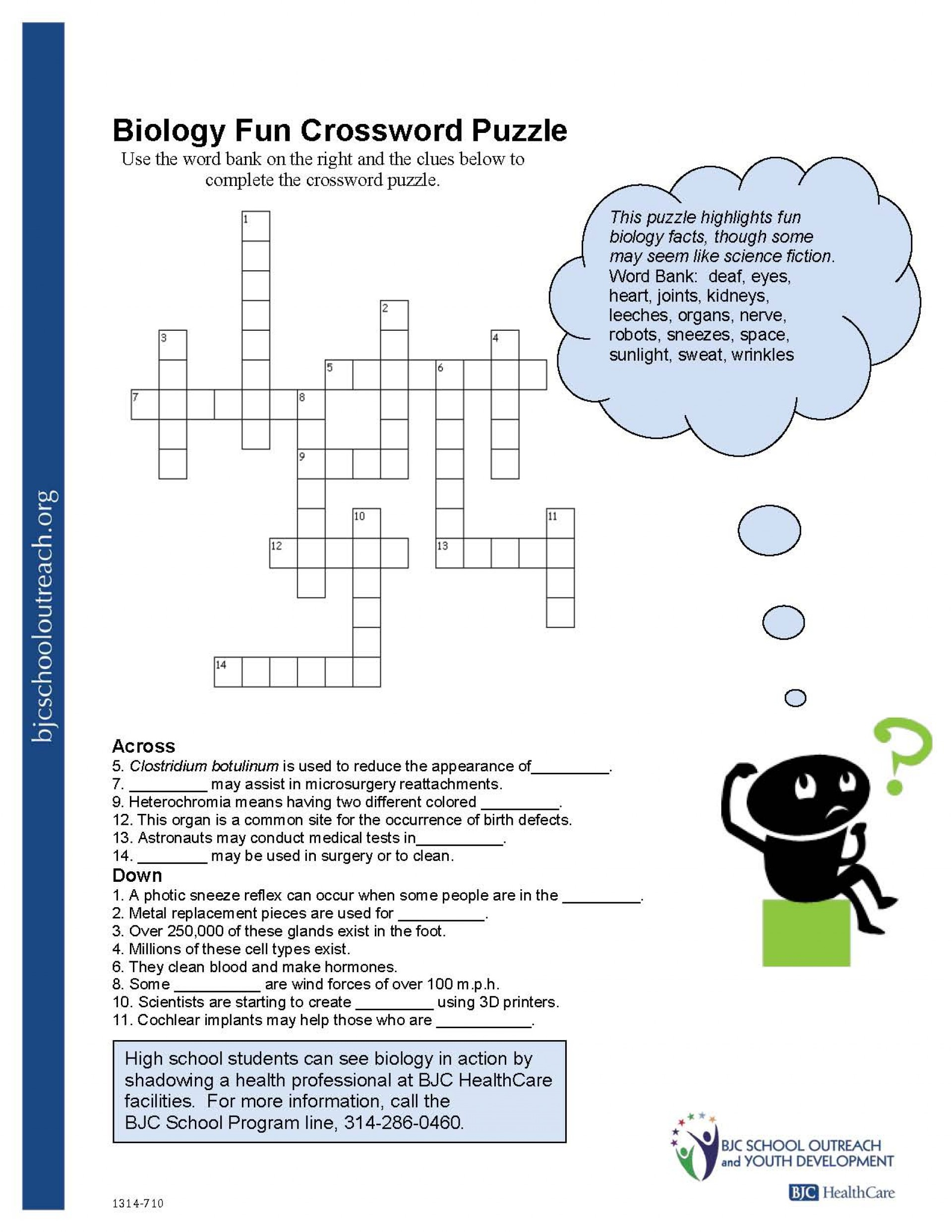 Printable Crossword For Middle School