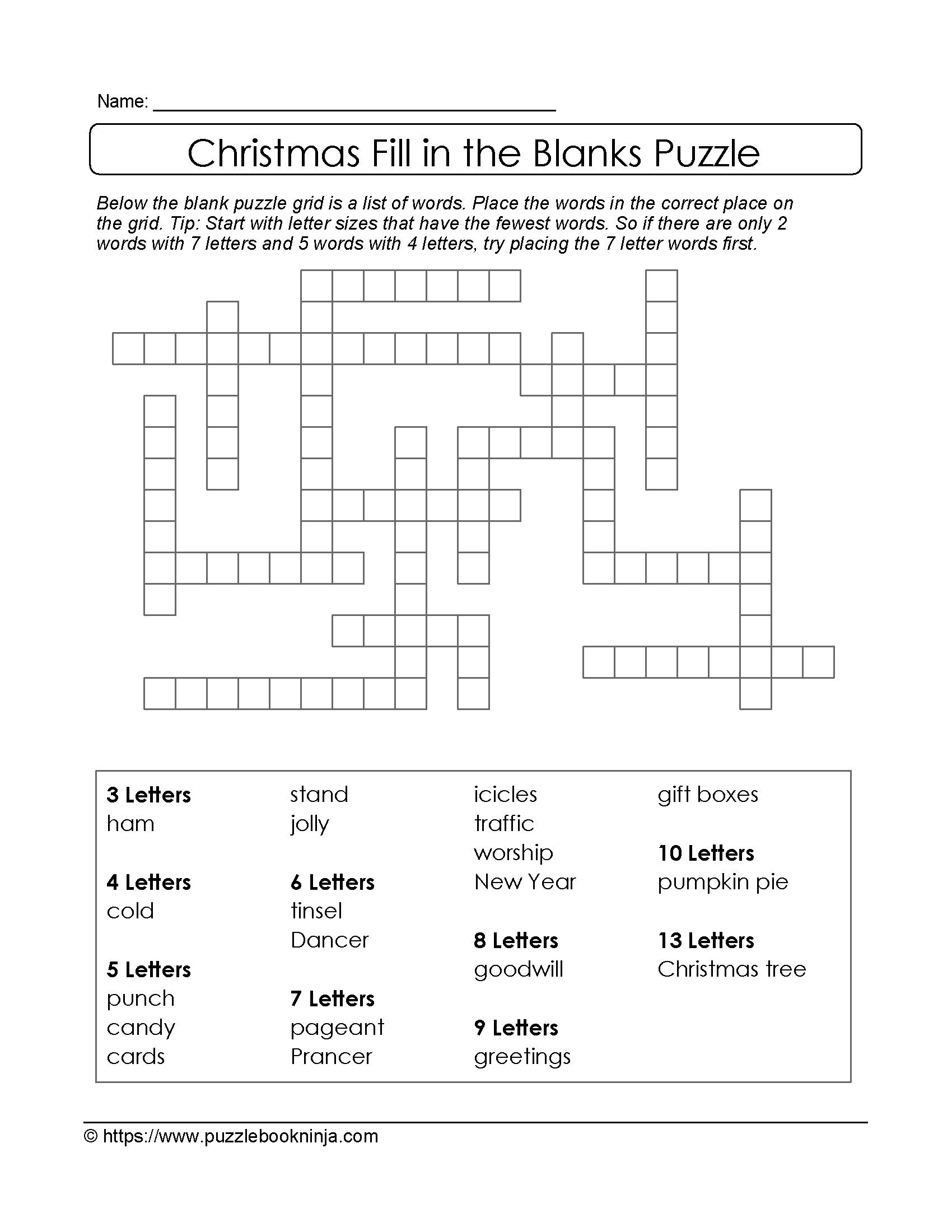 Sizzling Fill In Crossword Puzzles Printable
