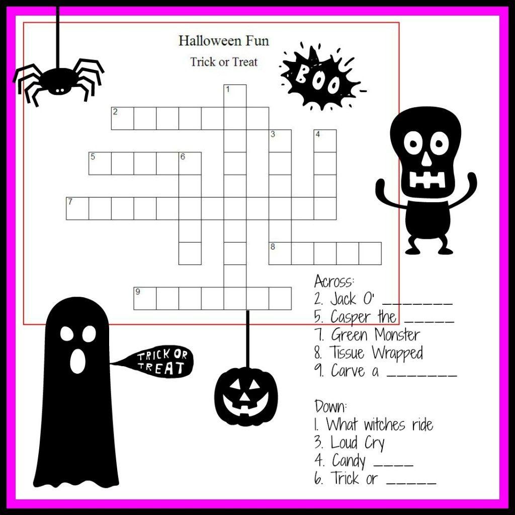 Halloween Crossword Puzzle Printable 3rd Grade