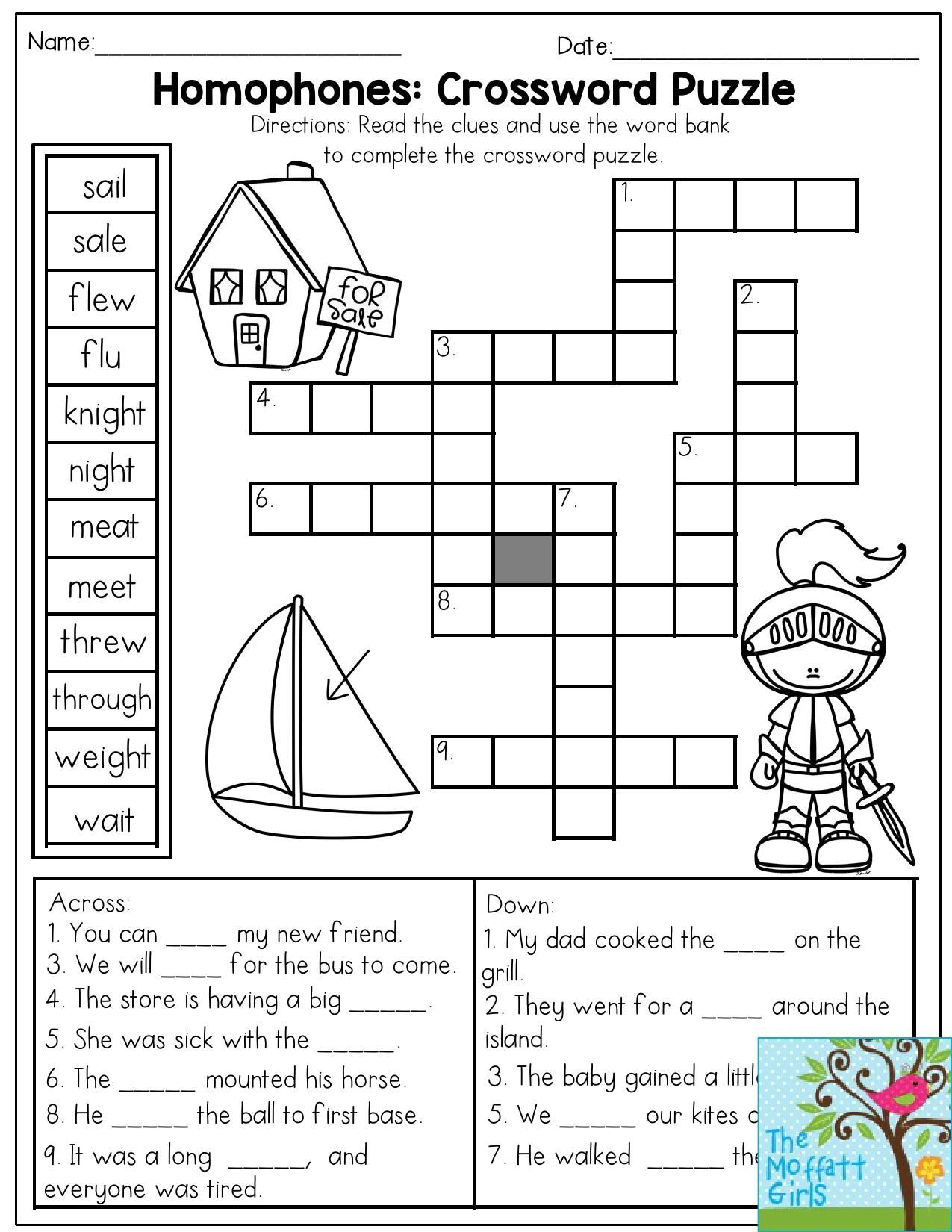 Printable Crossword Puzzles 2nd Grade