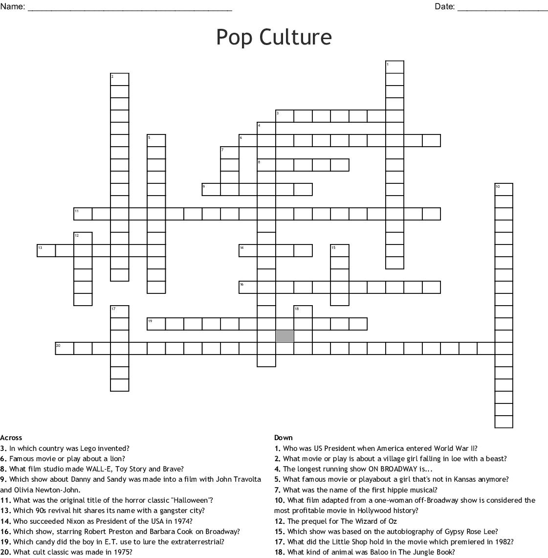 Pop Culture Crossword Puzzles Printable