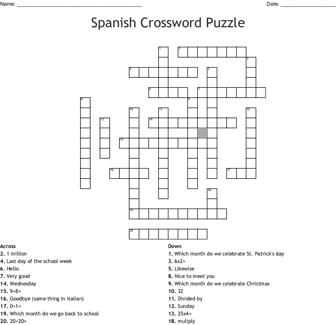 Spanish 2 Chapter 3b Crossword