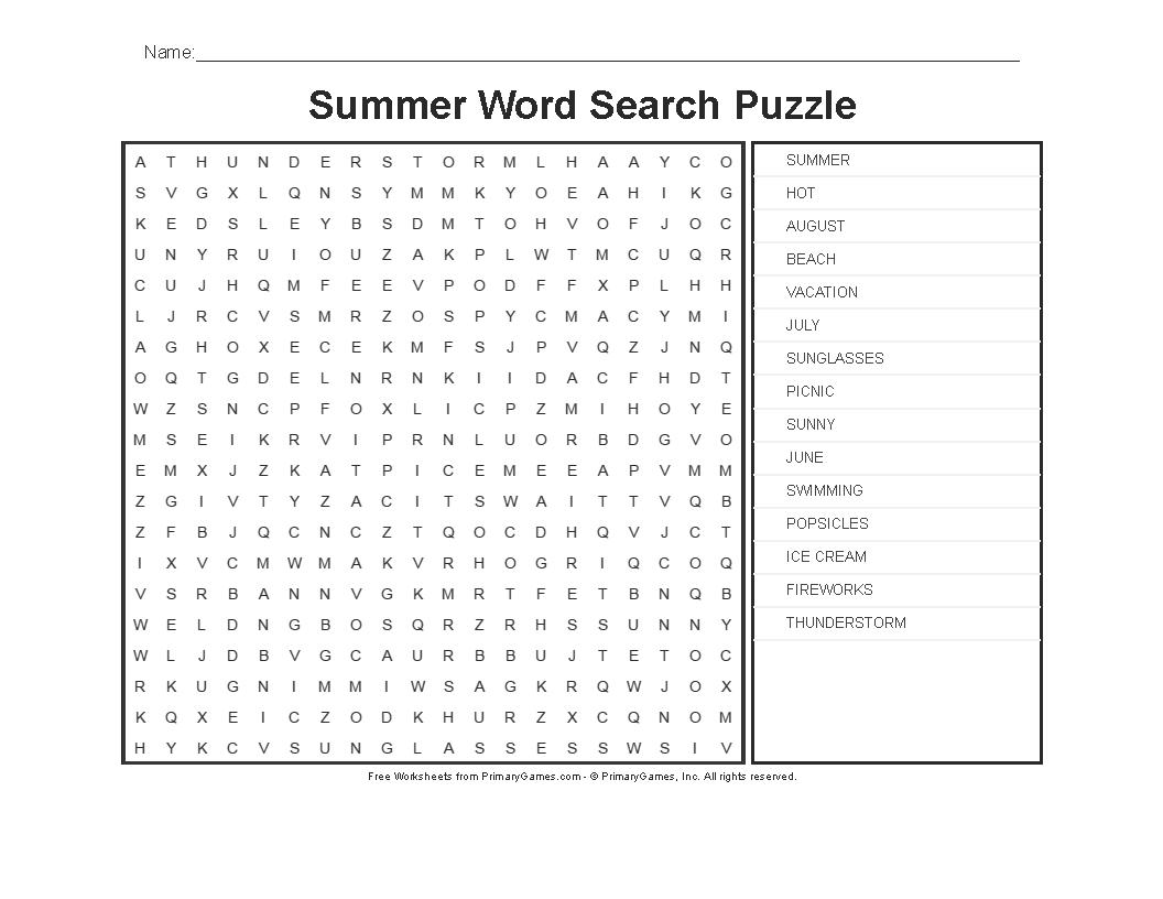 Printable Beach Crossword Puzzles